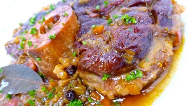 Braised Pork Osso Bucco & Caramelized Shallot Demi Glace
