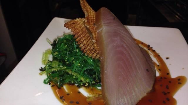 Cold smoked Yellowfin Tuna with Sesame Seaweed salad and teriyaki glaze