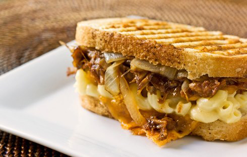 Pulled pork, Mac and Cheese Panini with caramalized onions