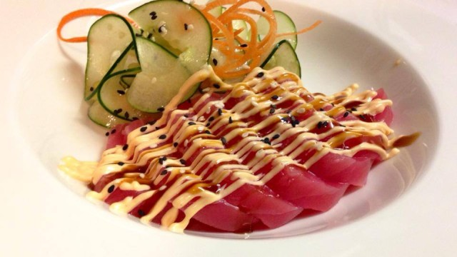 Yellowfin Sashimi with spicy mayo, teriyaki gaze & Asian Cucumber Salad